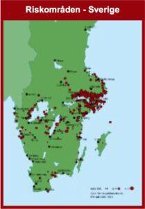 Riskområden för TBE i Sverige